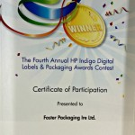 Participation in the HP Indigo Digital Labels and Packaging Awards.