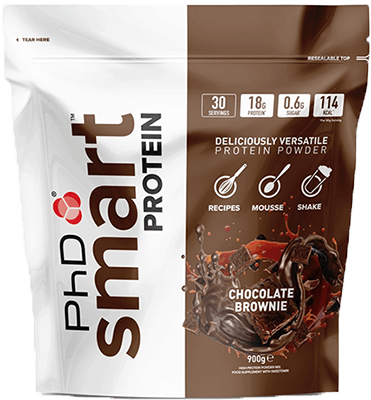 An image of the PhD branded smart protein powder pouch packaging