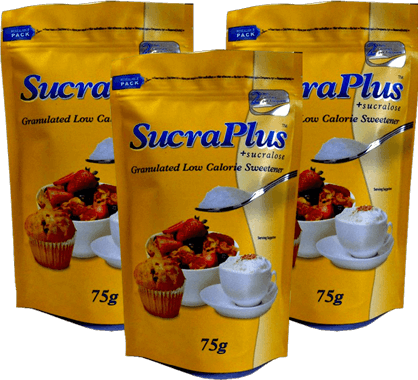 An image of three sucraplus branded resealable pouches designed by foxpak