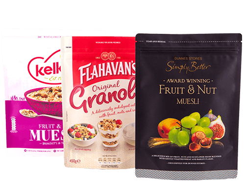 an image of three pouches containing similar breakfast cereals but have customised packaging for each individual brand