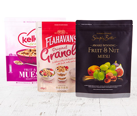 A selection of health food ranges designed and packaged by foxpak