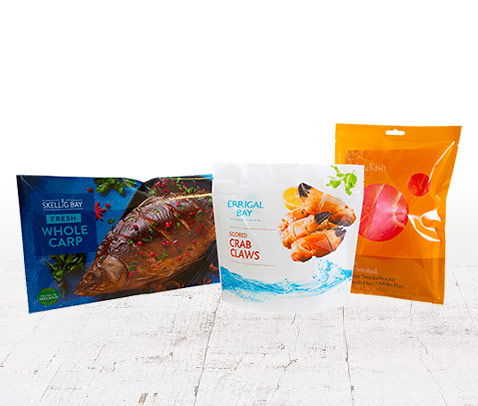 A range of packaging styles for fresh fish products