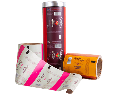 an image showing some examples of print rolls designed and manufactured by foxpak for the brand stokes