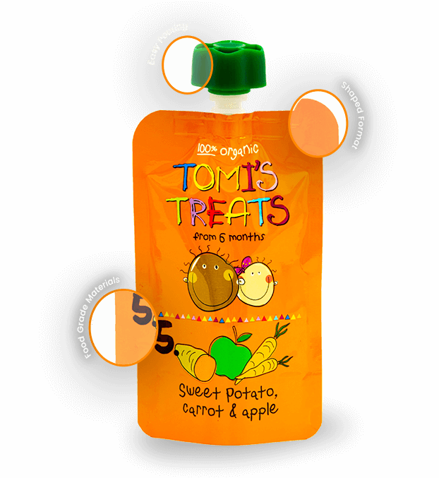 Baby puree food packaged in a custom pouch design