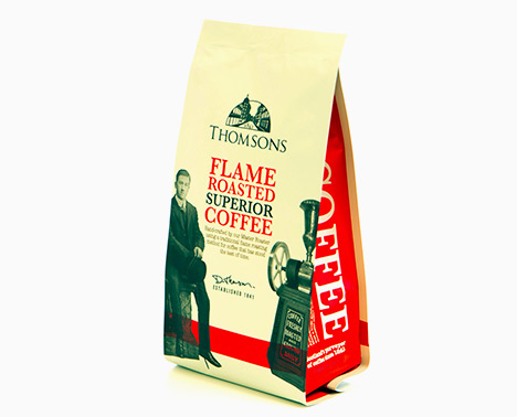 An old style packaging design for flame roasted coffee