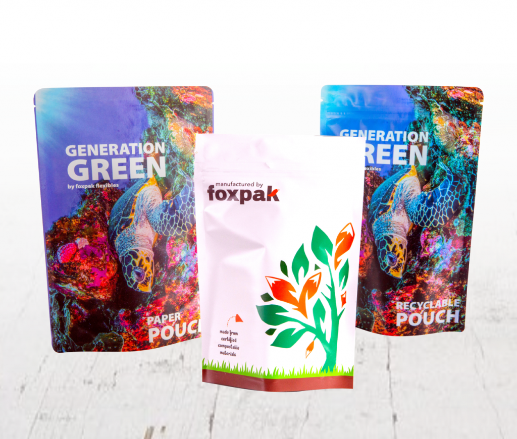 collection of compostable, recyclable and paper stand up pouches