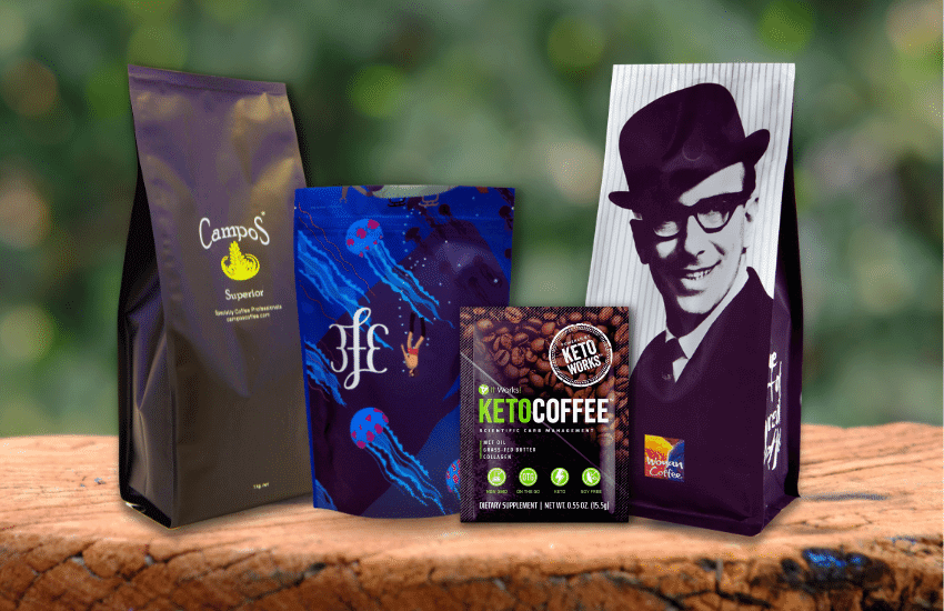 Flexible packaging for coffee. Flat bottom bag, Quad seal bag, 3 side seal bag and stand up po